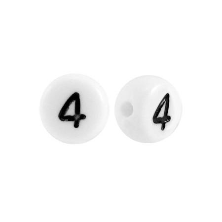 Acryl cijferkraal rond 4