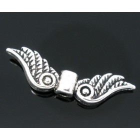 Metalen spacer zilver Angel wings 23x7mm