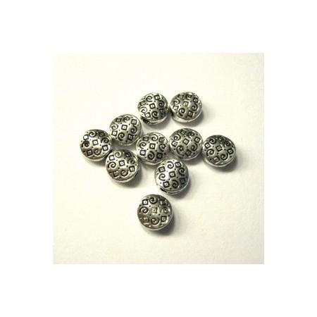 Metalen spacer zilver Oriental flat 7mm