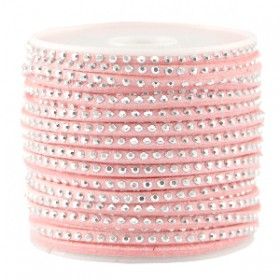 Imi. Suède leer 3mm met strass zilver Bright strawberry pink