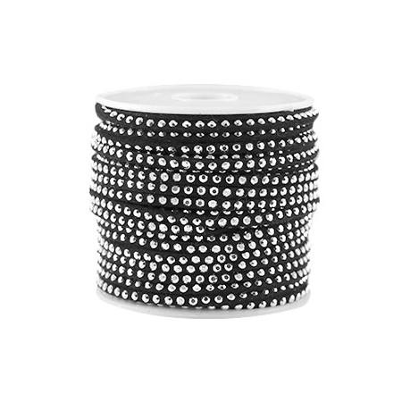 Imi. Suède leer 3mm met strass zilver Zwart