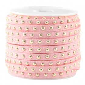 Imi. Suède leer 5mm met studs goud Bright strawberry pink