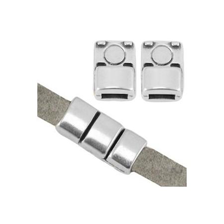 DQ metaal magneet sluiting (voor 5mm plat leer) Antiek zilver (nikkelvrij)