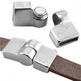 DQ metaal magneetslot scharnier (voor DQ leer plat 10mm) Antiek zilver (nikkelvrij)