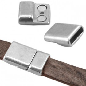 DQ metaal magneetslot (voor DQ leer plat 10mm) Antiek zilver (nikkelvrij)