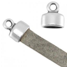 DQ metaal eindkapje met oog (voor 5mm plat leer) Antiek zilver (nikkelvrij)