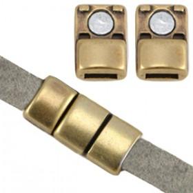 DQ metaal magneet sluiting (voor 5mm plat leer) Antiek brons (nikkelvrij)