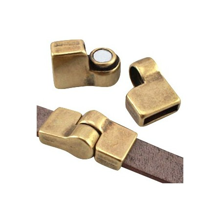 DQ metaal magneetslot scharnier (voor DQ leer plat 10mm) Antiek brons (nikkelvrij)