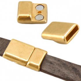 DQ metaal magneetslot (voor DQ leer plat 10mm) Goud (nikkelvrij)