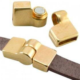 DQ metaal magneetslot scharnier (voor DQ leer plat 10mm) Goud (nikkelvrij)