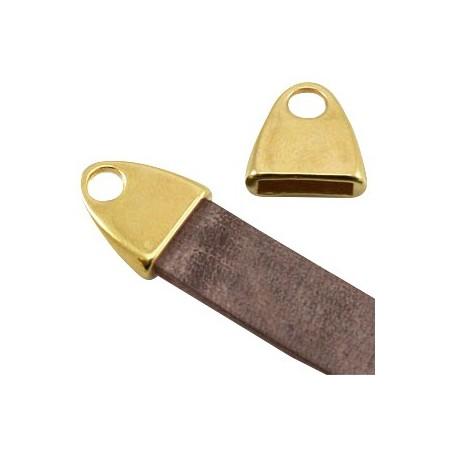 DQ metaal eindkap met oog (voor DQ leer plat 10mm) Goud (nikkelvrij)