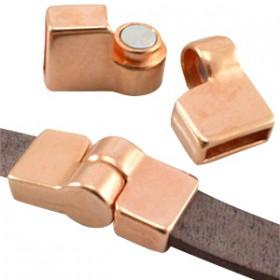 DQ metaal magneetslot scharnier (voor DQ leer plat 10mm) Rosé goud (nikkelvrij)
