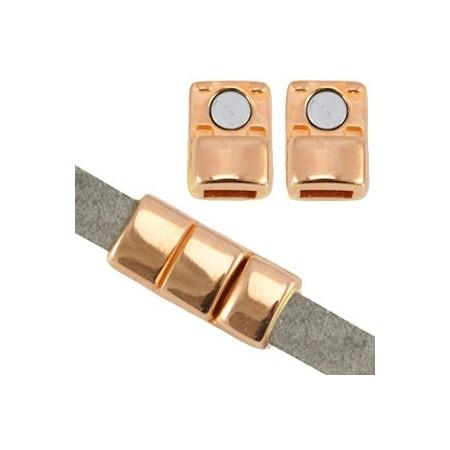 DQ metaal magneet sluiting (voor 5mm plat leer) Rosé goud (nikkelvrij)