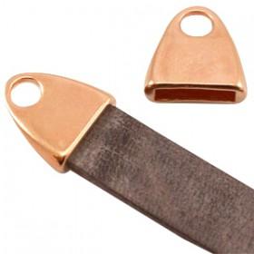 DQ metaal eindkap met oog (voor DQ leer plat 10mm) Rosé goud (nikkelvrij)