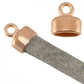 DQ metaal eindkapje met oog (voor 5mm plat leer) Rosé goud (nikkelvrij)