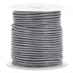 DQ leer rond 1 mm Steel grey metallic