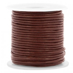 DQ leer rond 1 mm Dark chocolate brown