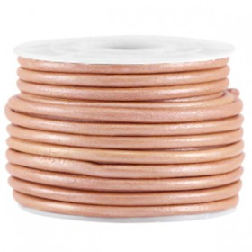 DQ leer rond 2 mm Light rose brown metallic