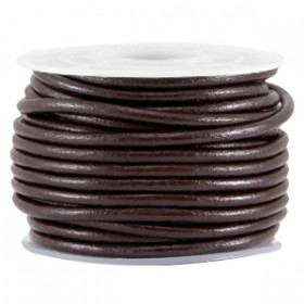 DQ leer rond 2 mm Coffee brown