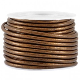 DQ leer rond 2 mm Dark copper brown metallic