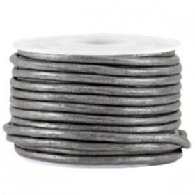 DQ leer rond 2 mm Steel grey metallic