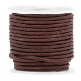 DQ leer rond 2 mm Dark chocolate brown - vintage finish