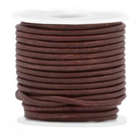 DQ leer rond 2 mm Dark chocolate brown - vintage finish