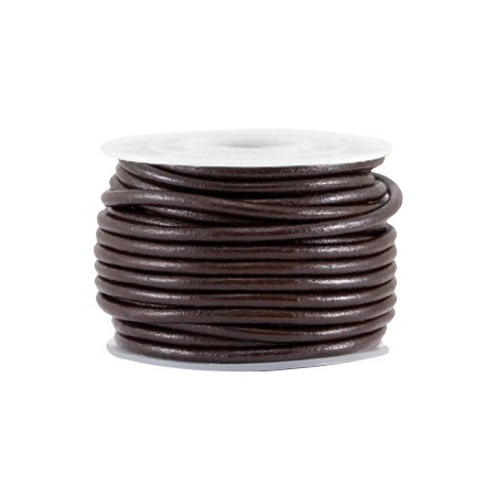 DQ leer rond 3 mm Coffee brown