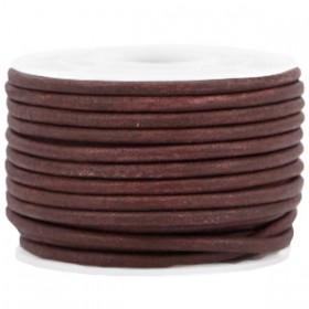 DQ leer rond 3 mm Dark chocolate brown - vintage finish