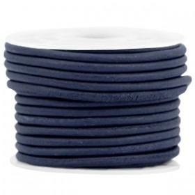 DQ leer rond 3 mm Navy blue - vintage finish