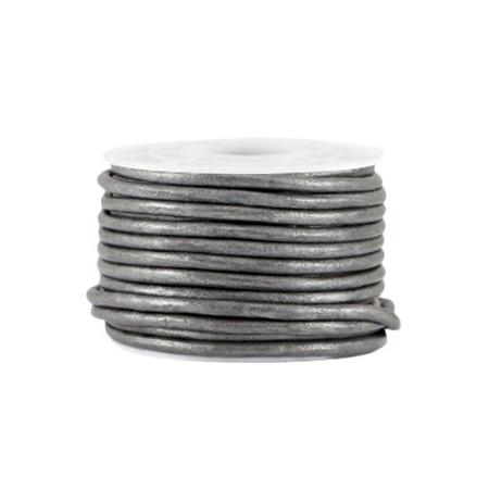 DQ leer rond 3 mm Steel grey metallic