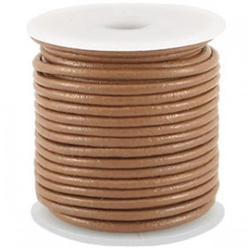 DQ leer rond 2 mm Wood smoke brown