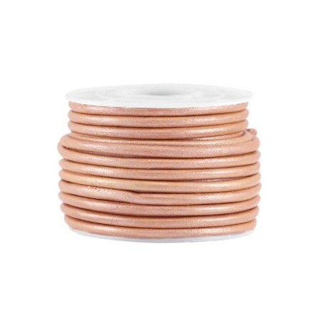 DQ leer rond 3 mm Light rose brown metallic