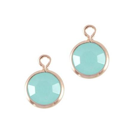 DQ facethanger Rosé goud Licht turquoise blauw opal