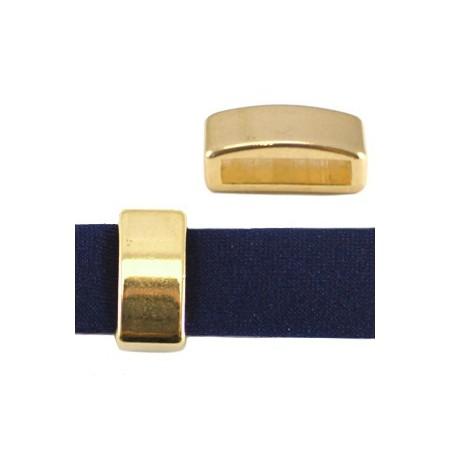 DQ schuiver 12mm (voor leren ring) goud