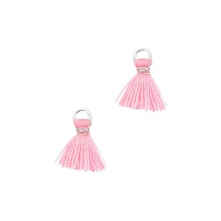 Kwastjes 1cm Zilver Roze