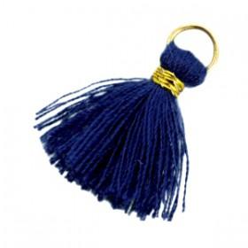 Kwastjes 1.8cm Goud Donker blauw