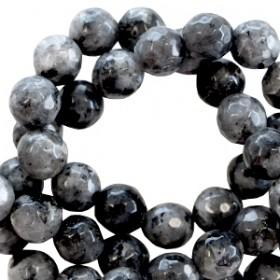 Natuursteen  rond 8mm facet geslepen Antraciet zwart