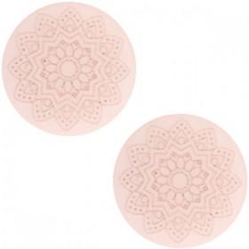 12 mm platte cabochon Polaris Elements Mandala print matt Powder pink