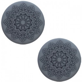 12 mm platte cabochon Polaris Elements Mandala print matt Rustic blue