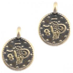 DQ metaal bedel muntje Antiek brons (nikkelvrij)
