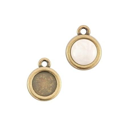 DQ metaal setting 7mm rond 1 oog Antiek brons