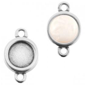 DQ metaal setting 12mm rond 2 ogen Antiek zilver