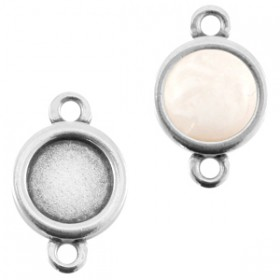 DQ metaal setting 20mm rond 2 ogen Antiek zilver