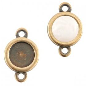 DQ metaal setting 20mm rond 2 ogen Antiek brons