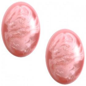 Polaris cabochon ovaal 10x13mm Pearl shine Jais  Lilac snow pink