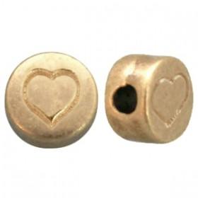 DQ metaal letterkraal hartje Antiek brons