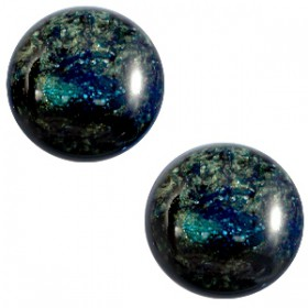 12mm platte cabochon classic Polaris Stardust Dark emerald blue zircon
