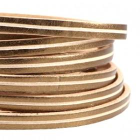 DQ leer suède plat 5mm 2s Antiek rose gold - beige