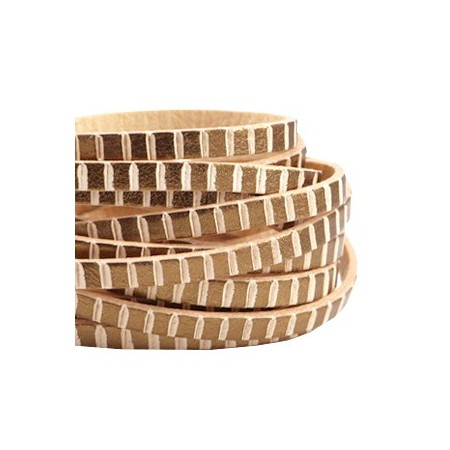 DQ leer suède plat 5mm blocks Antiek rose gold - beige